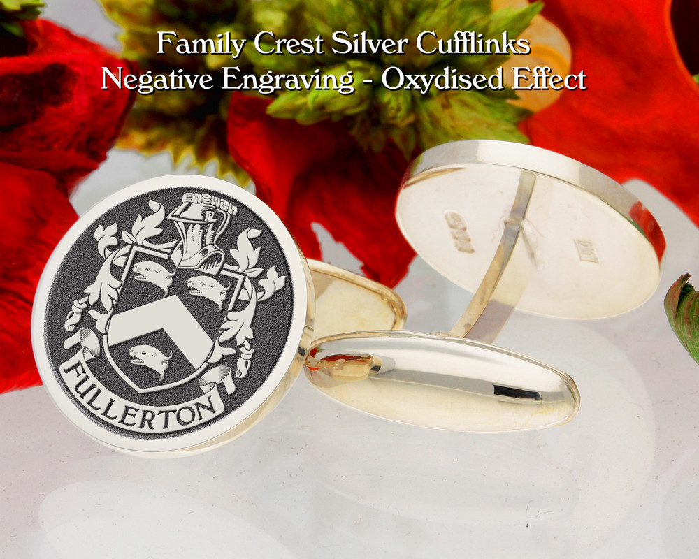 Fullerton D1 Family Crest Cufflinks Negative Engraving