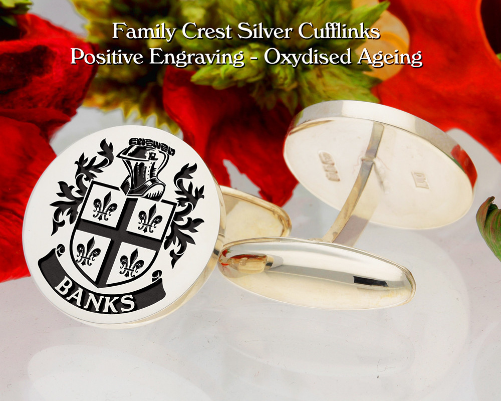 Banks Family Crest Positive Oxidised