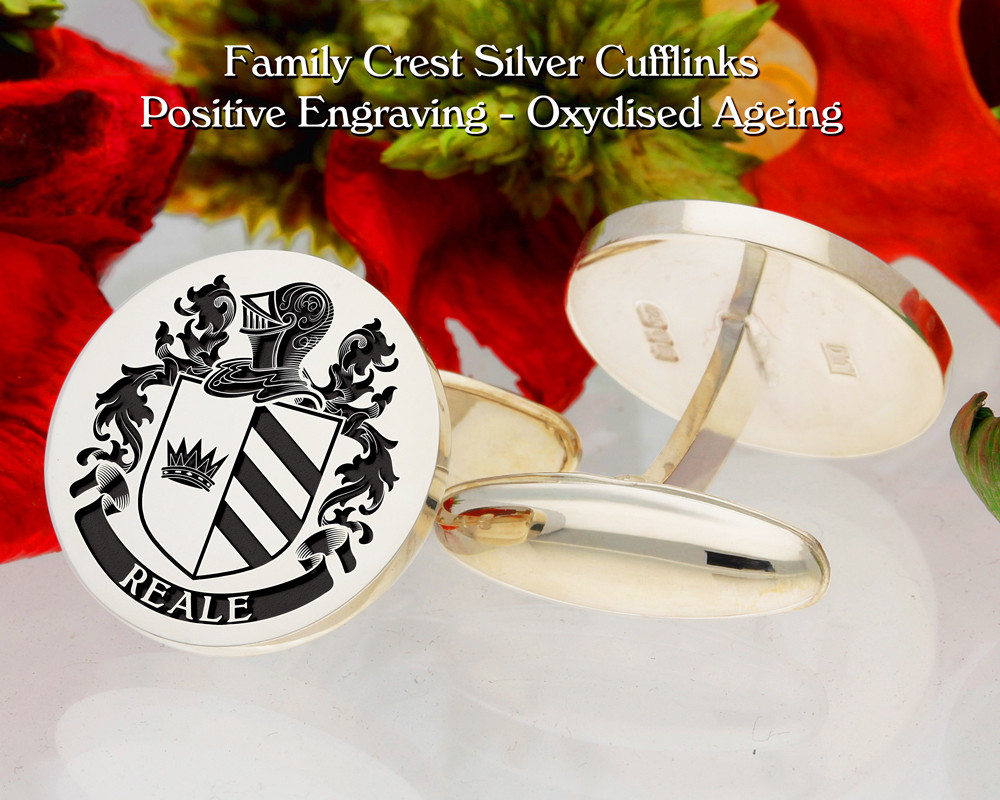 Reale  (Italy) Family Crest Cufflinks Positive Oxidised