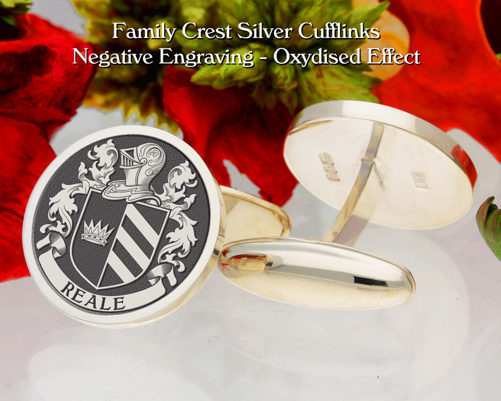 Reale  (Italy) Family Crest Cufflinks Negative Oxidised