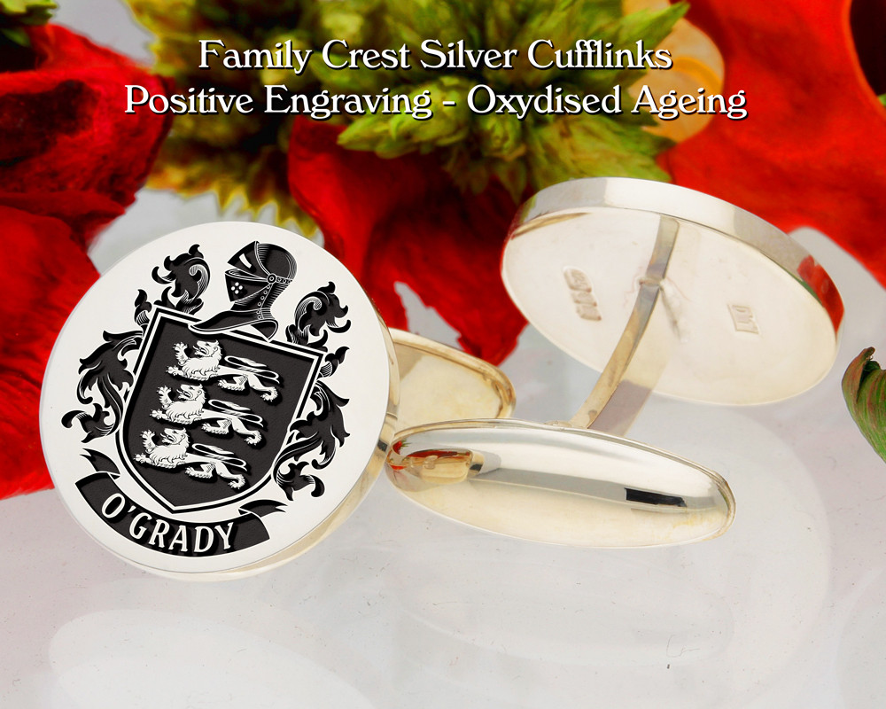 O'Grady Family Crest Cufflinks Positive