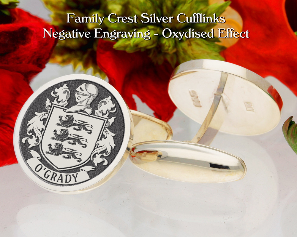 O'Grady Family Crest Cufflinks Negative