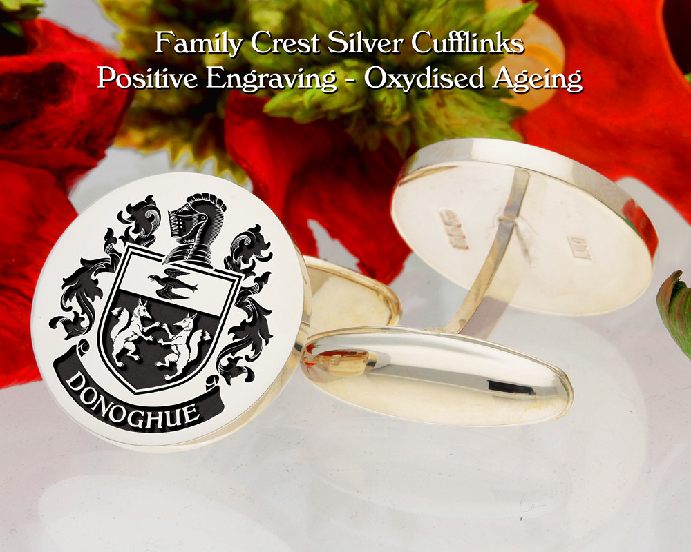 Donoghue Family crest cufflinks - positive engraving, oxidised