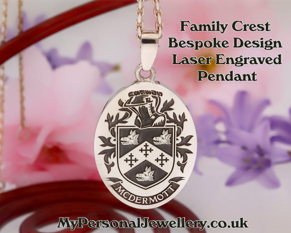 Custom Design Family Crest laser engraved pendant McDermott