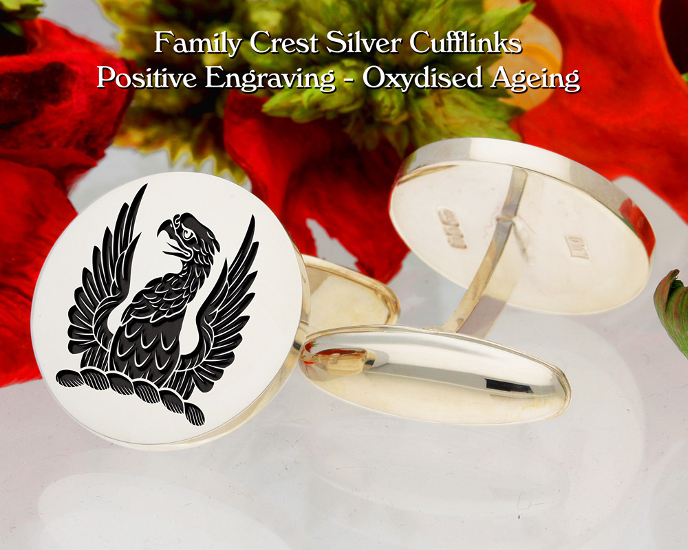Grellier Crest Cufflinks Oxidised Positive