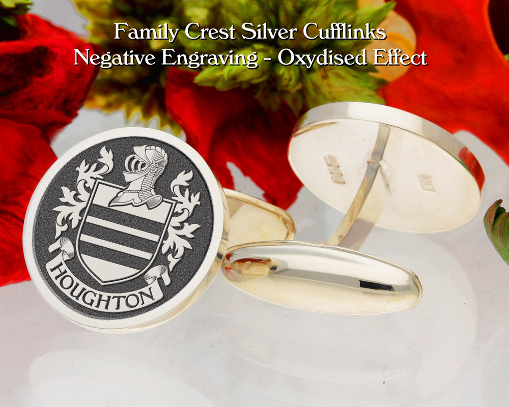 Houghton Family Crest Cufflinks Negative Oxidised