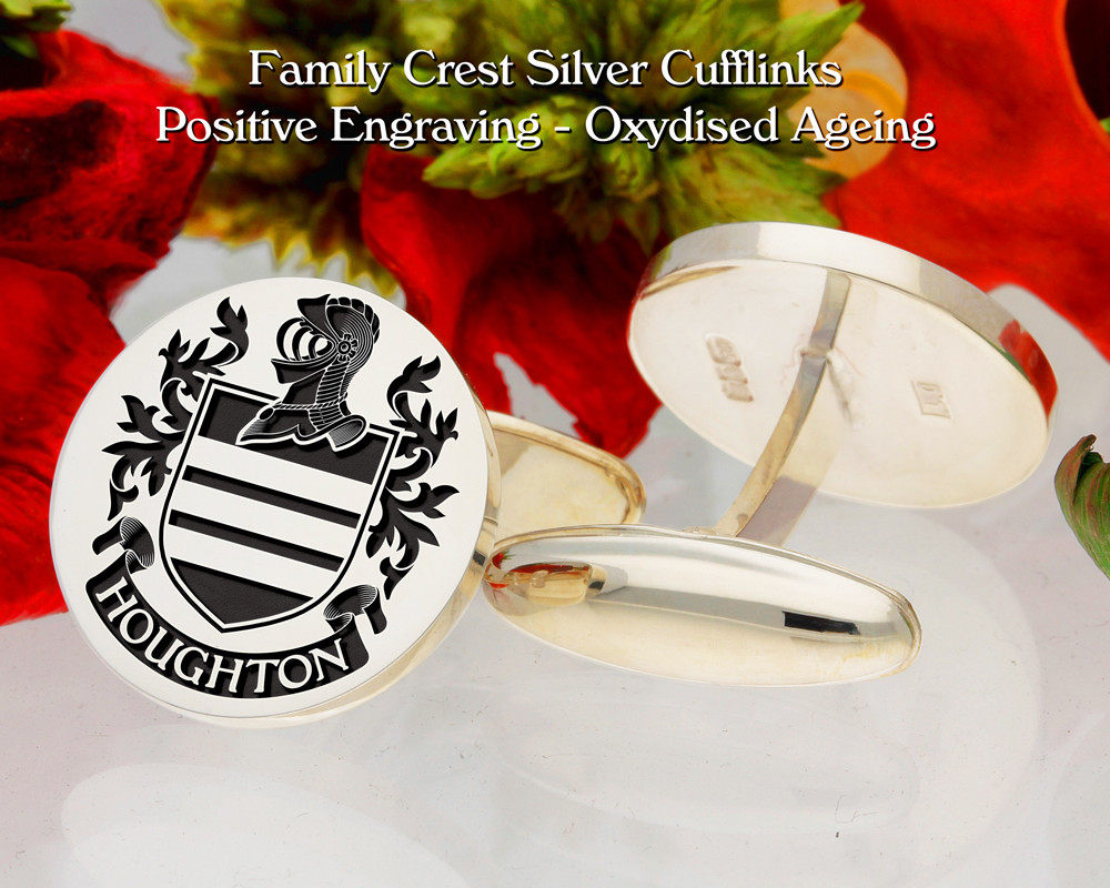 Houghton Family Crest Cufflinks Positive Oxidised