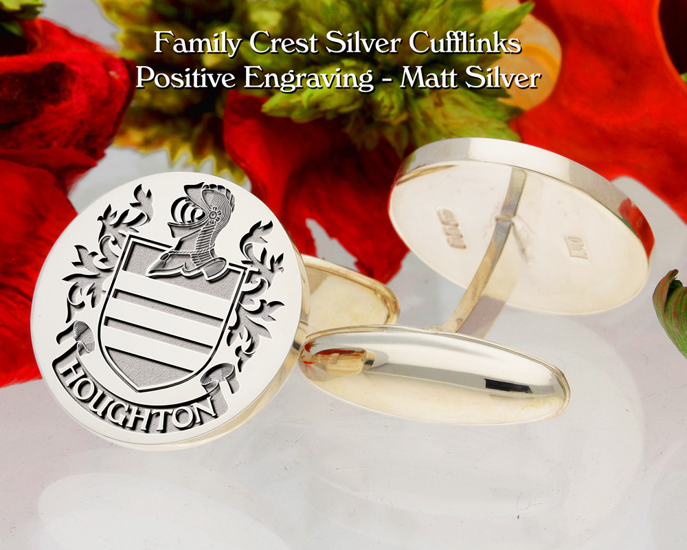 Houghton Family Crest Cufflinks Positive Matt Silver