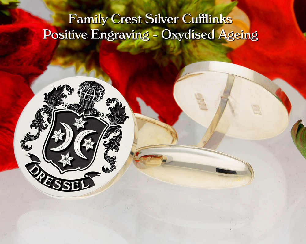 Dressel Family Crest Cufflinks Positive Oxidised