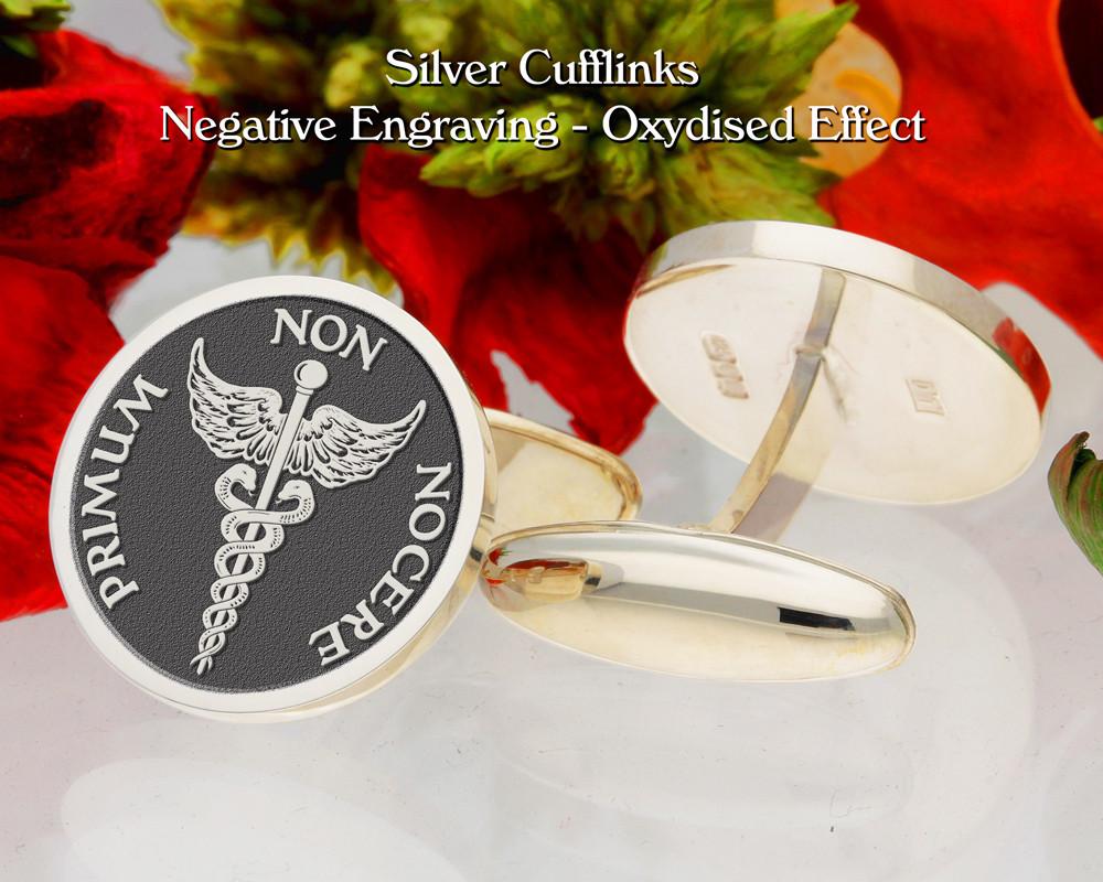 Caduceus 'Primum non Nocere' Personalised Cufflinks