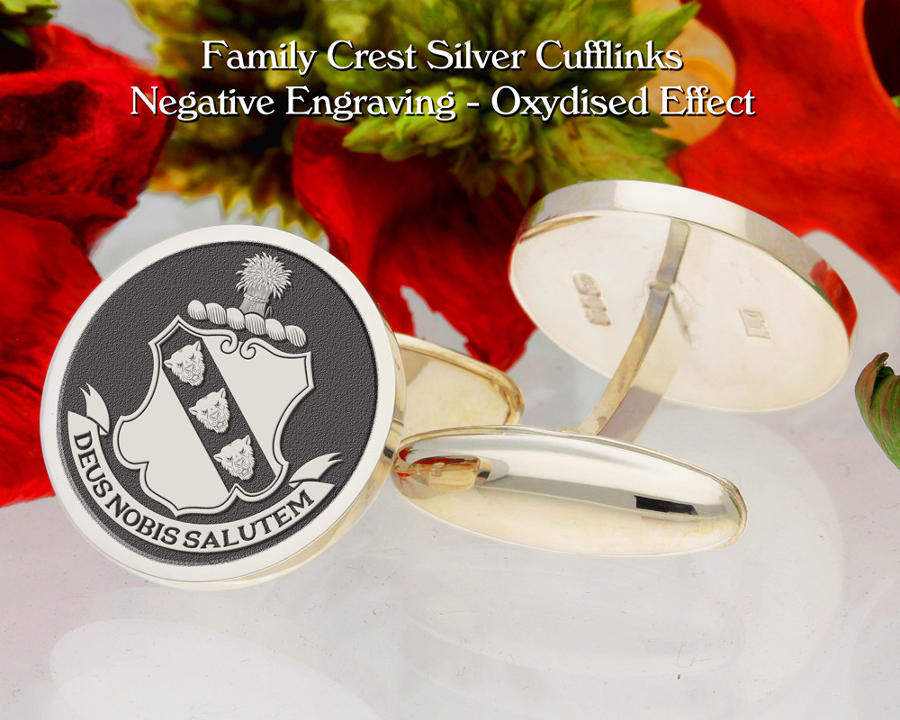 Stephenson Family Crest Cufflinks with Motto