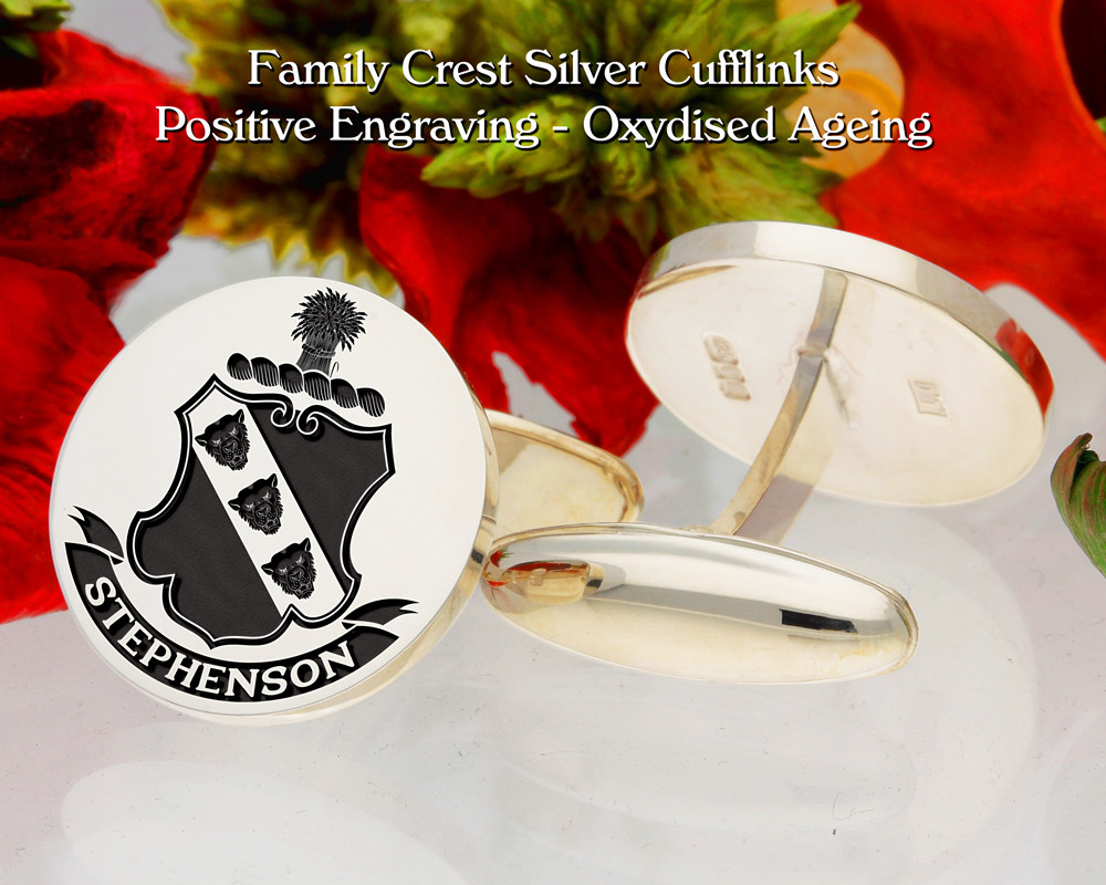 Stephenson Family Crest Cufflinks with Name