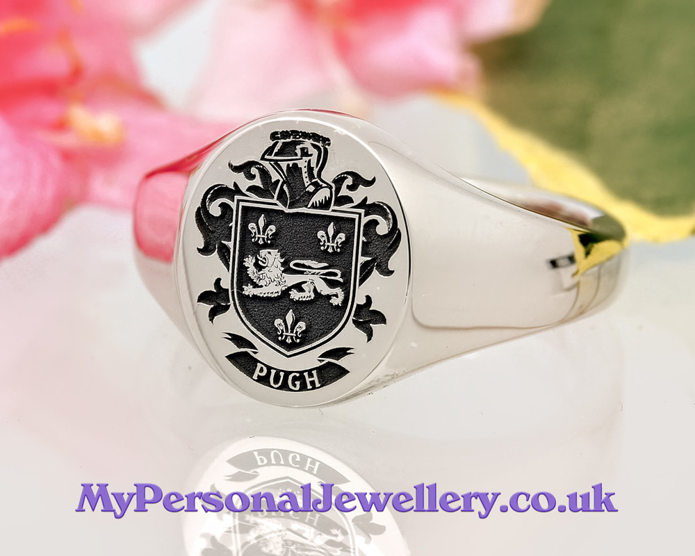 Pugh Family Crest Signet Ring HS22 Positive Engraving Oxidised