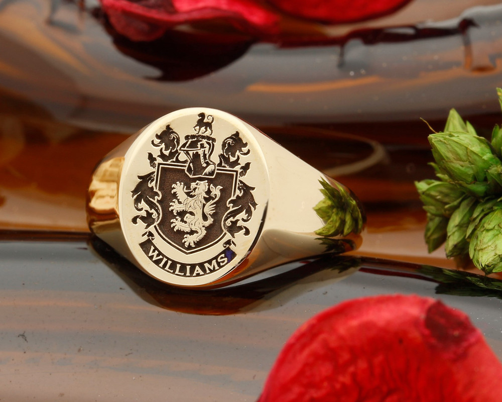 Williams Family Crest Signet Ring, 9ct Gold HS22 - positive