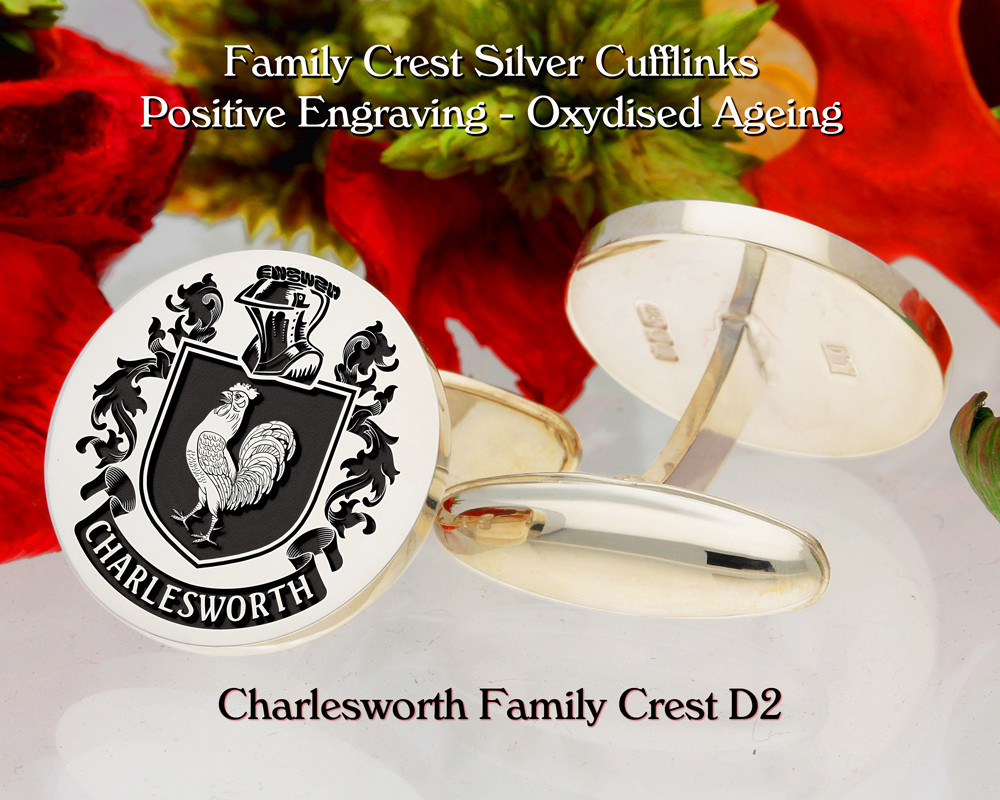 Charlesworth Family Crest Silver Cufflinks D2