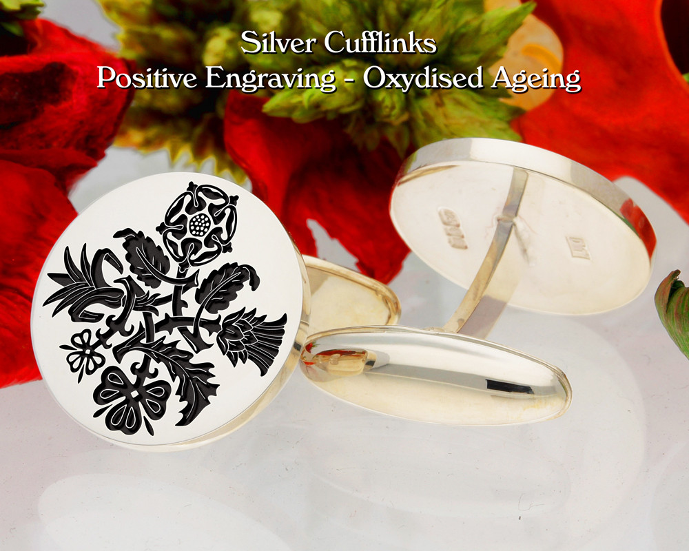 Lucky Sixpence Cufflinks Positive Engraving Oxidised