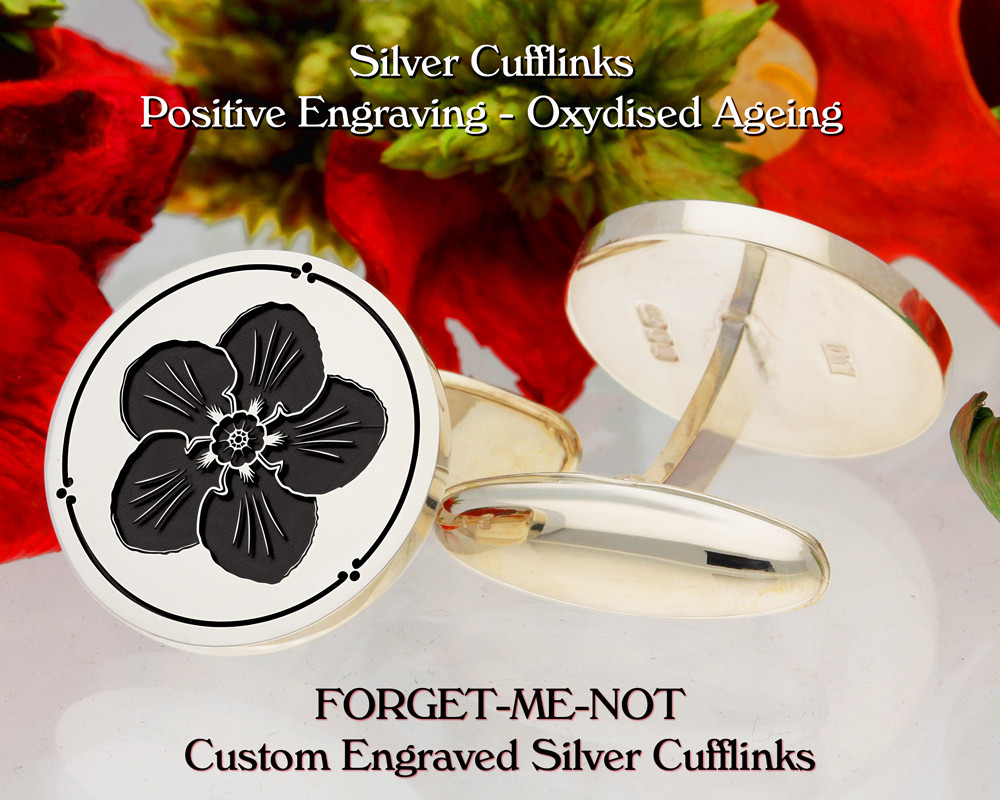 Forget-Me-Not Personalised Silver Cufflinks D1 Positive Oxidised