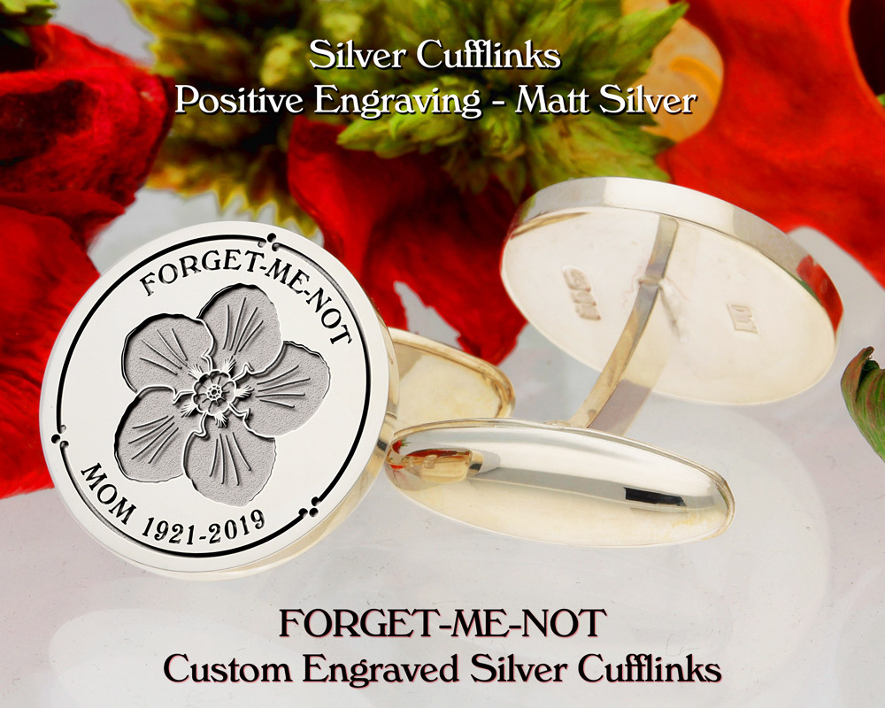 Forget-Me-Not Personalised Silver Cufflinks D3 Plus Text Positive Matt Silver