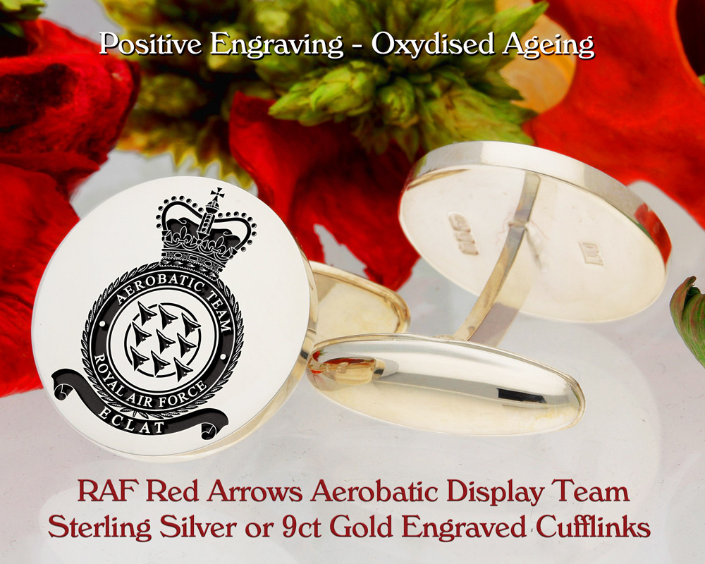 RAF Red Arrows Aerobatic Display Team Laser Engraved Cufflinks