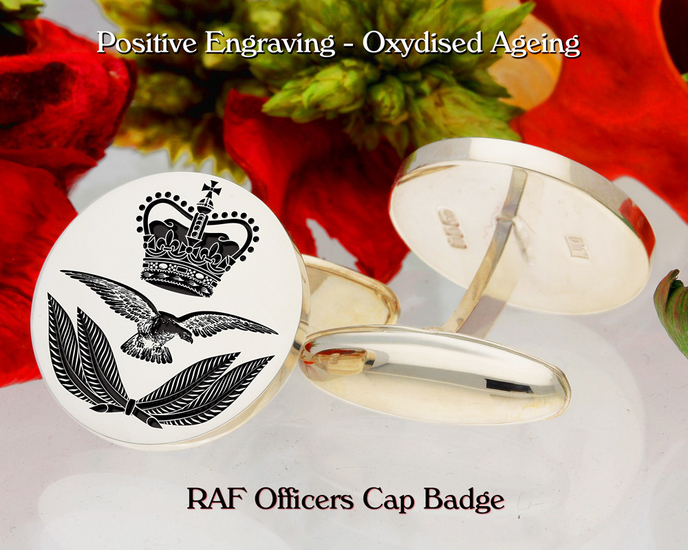 RAF Officers Cap Badge Military Silver or 9ct Gold Cufflinks