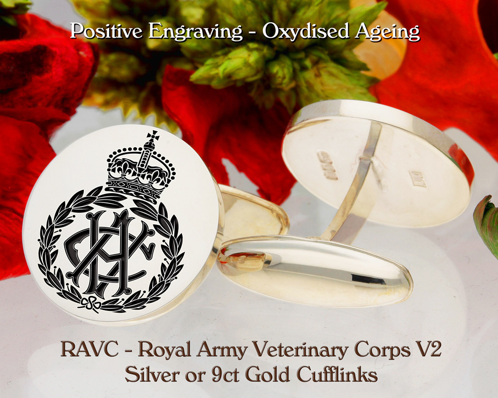 RAVC Royal Army Veterinary Corps Silver or 9ct Gold Cufflinks V2