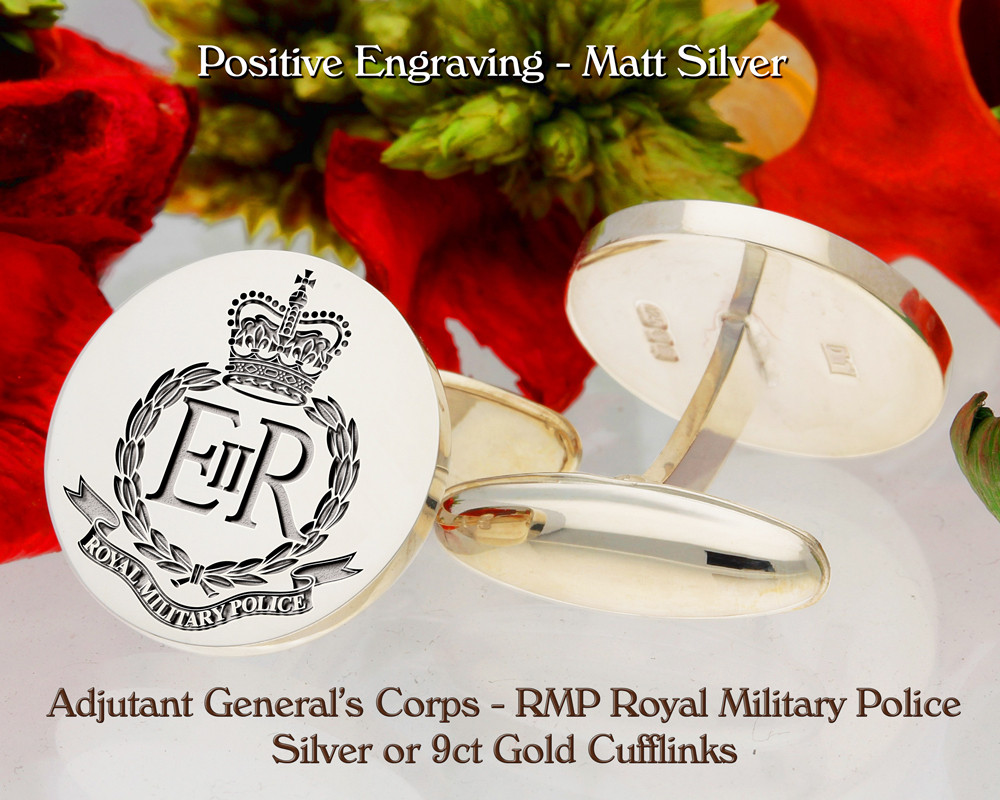 RMP Royal Military Police Silver or 9ct Gold Engraved Cufflinks