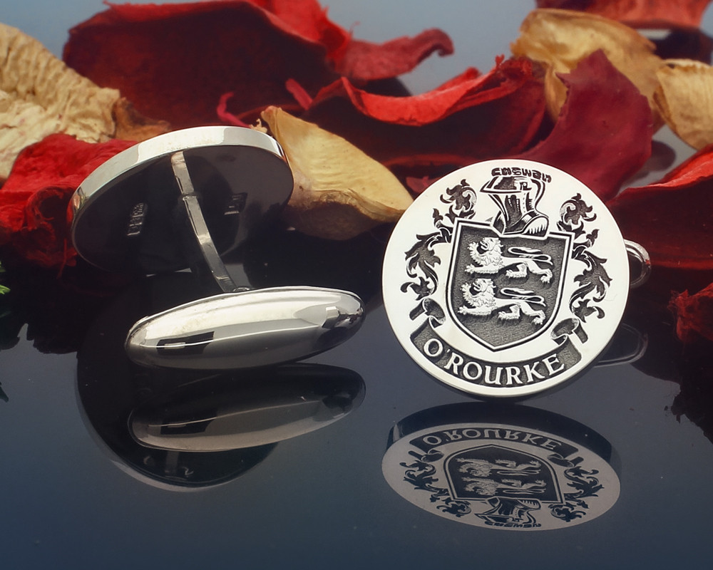 O'Rourke Family Crest Custom Engraved Silver or 9ct Gold Cufflinks