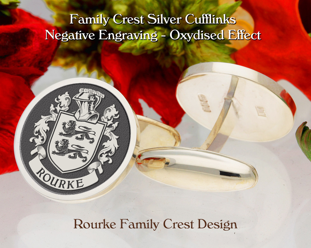Rourke Family Crest Cufflinks in Sterling Silver or 9ct Gold