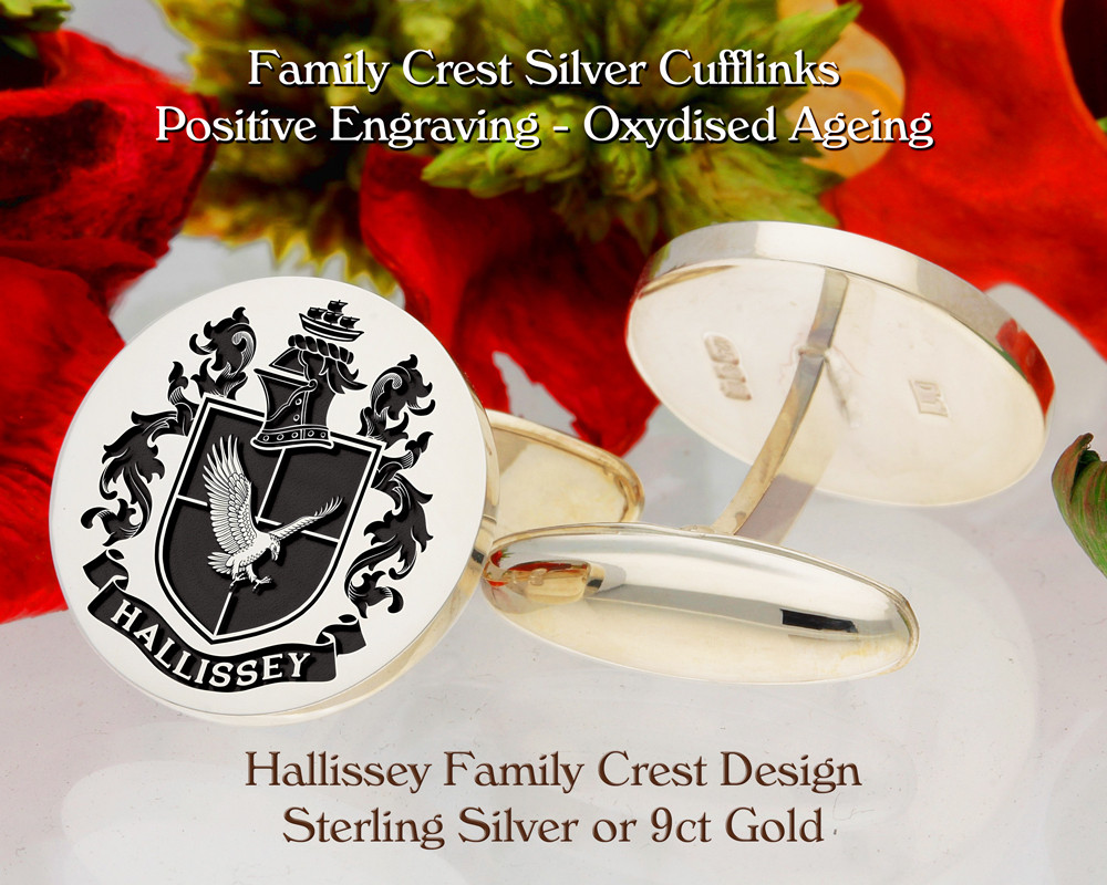 Hallissey Family Crest Cufflinks 9ct Gold or Sterling Silver