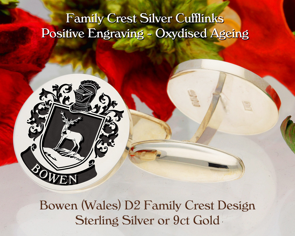 Bowen Family Crest D2 Sterling Silver or 9ct Gold