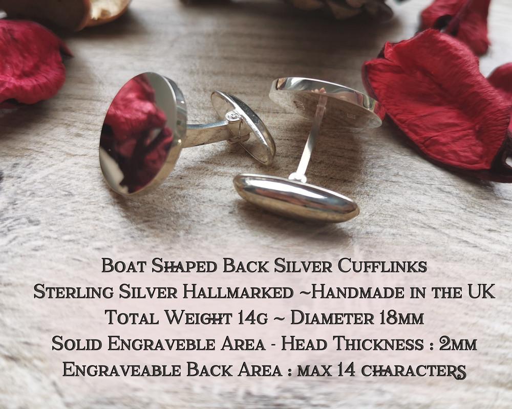 Sterling Silver Boat Back Cufflinks Hallmarked