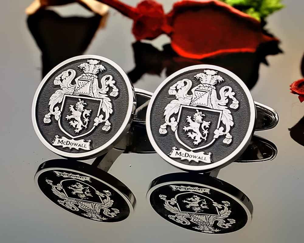 McDowall Family Crest Cufflinks available in Sterling Silver or 9ct Gold - shown negative oxidised
