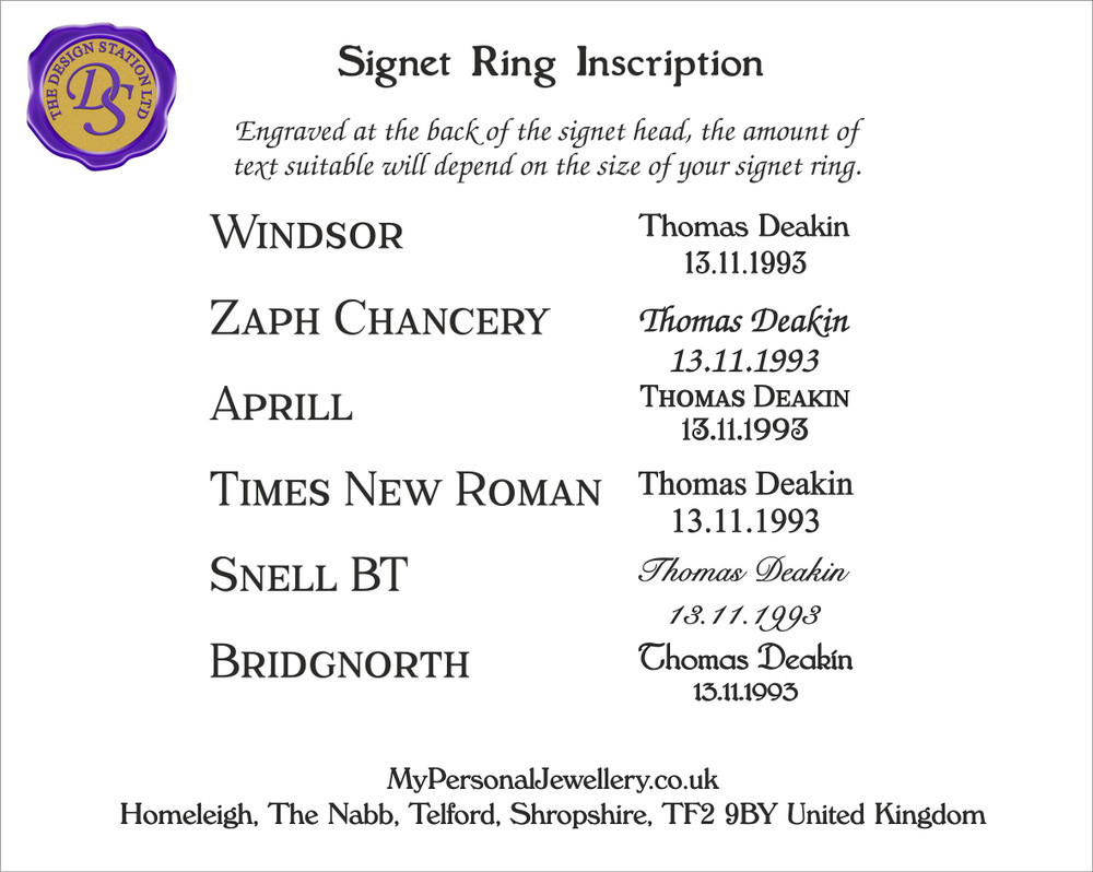 Signet Ring inside inscription, please take into consideration the size of your ring and have visible the text will be.