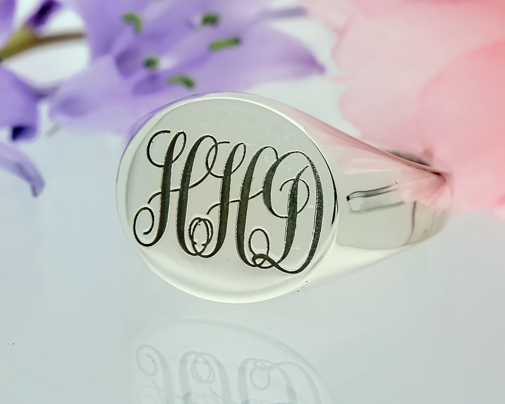 Monogram Sterling Silver Signet Ring, also available in 9ct Gold