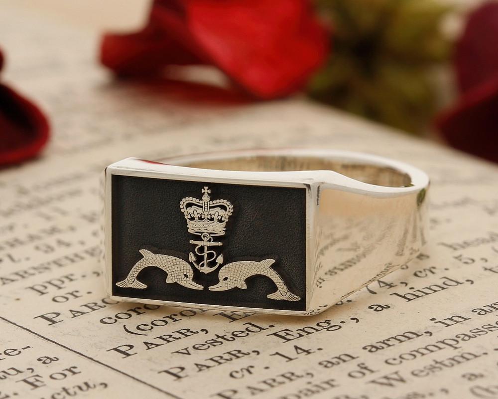 Royal Navy Submariner Engraved Signet Ring Silver or 9ct Gold
