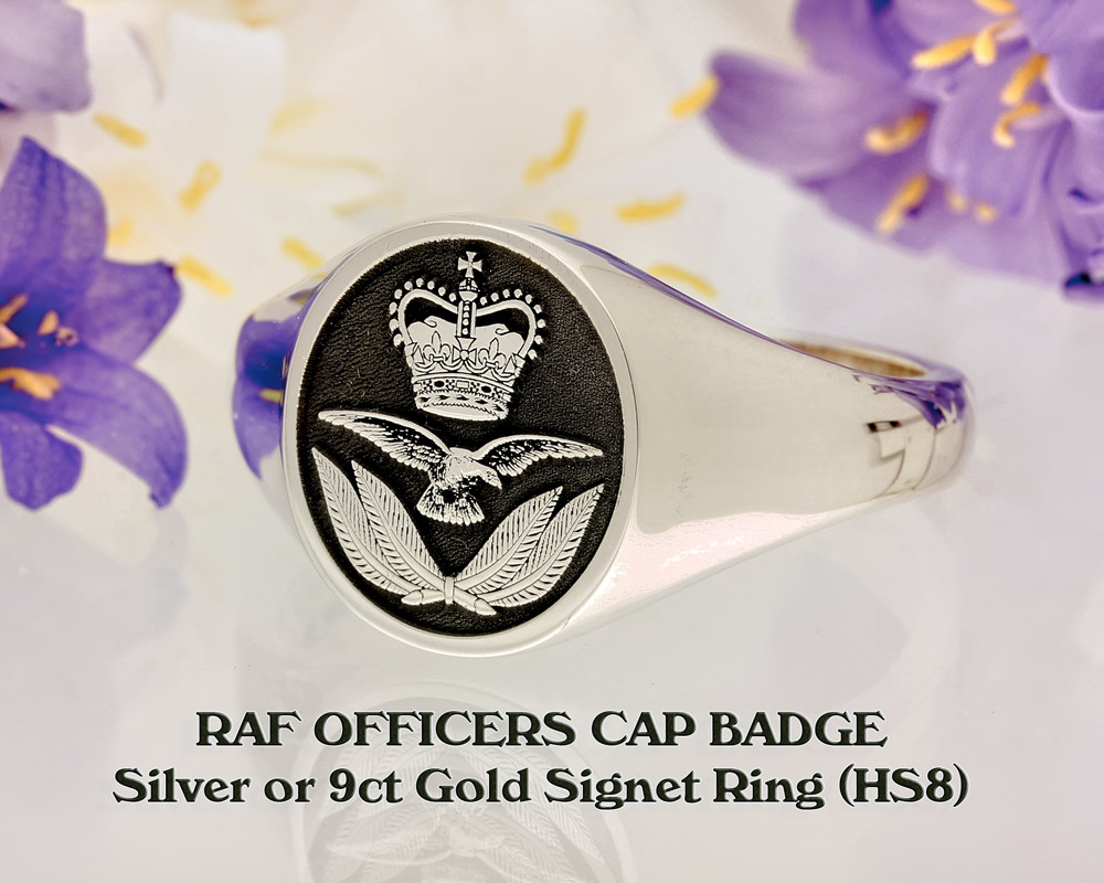 RAF Officers Cap Badge Laser Engraved Signet Ring Silver or 9ct Gold