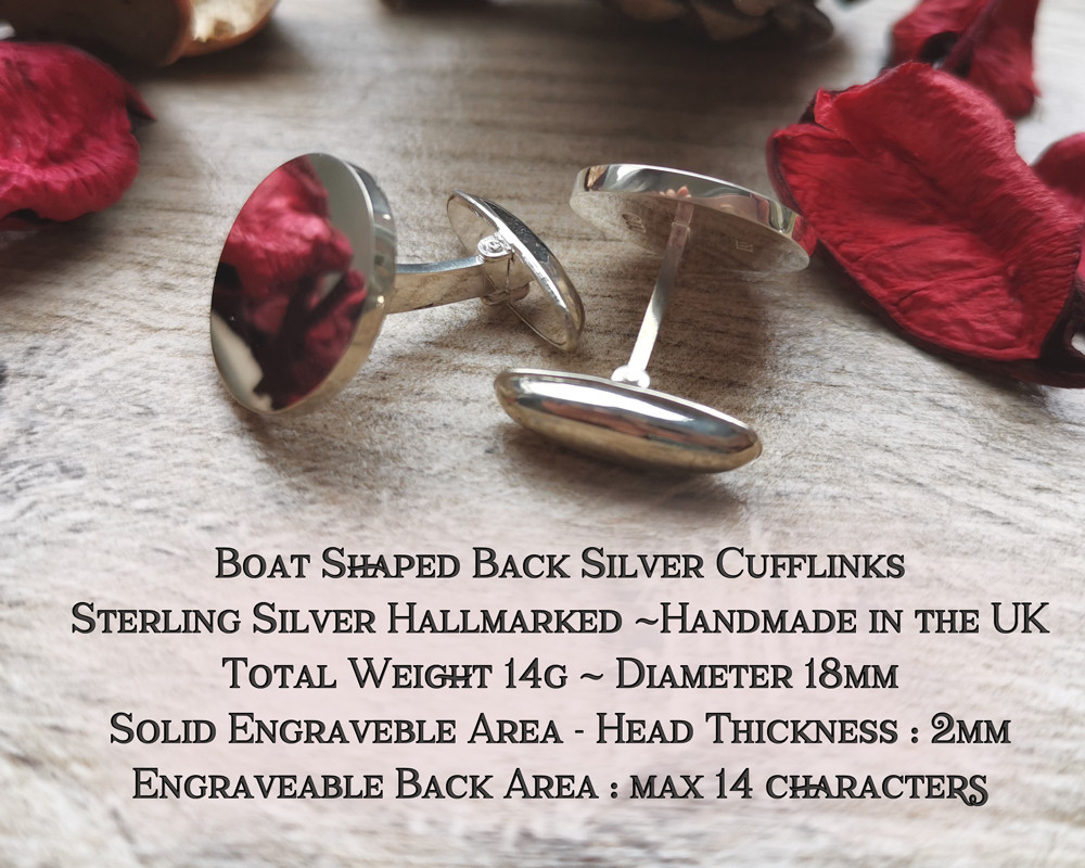 Boat Back Cufflinks Sterling Silver