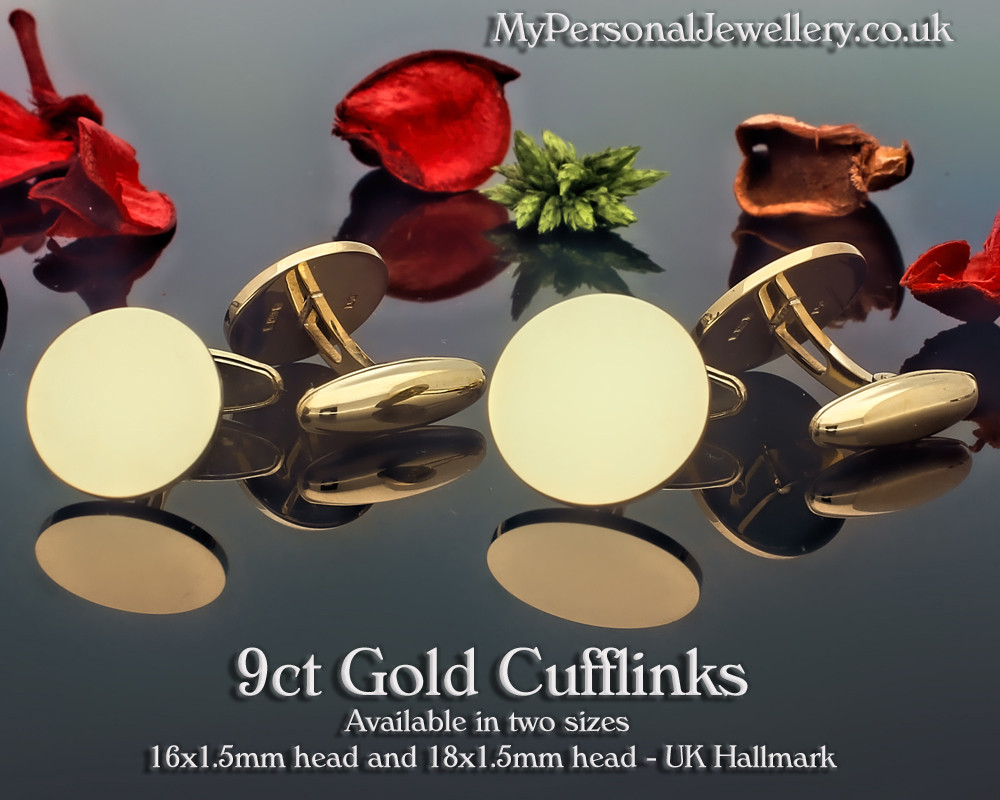 9ct Gold Hallmarked Cufflinks with boat shape back Laser Engraved - MyPersonalJewellery