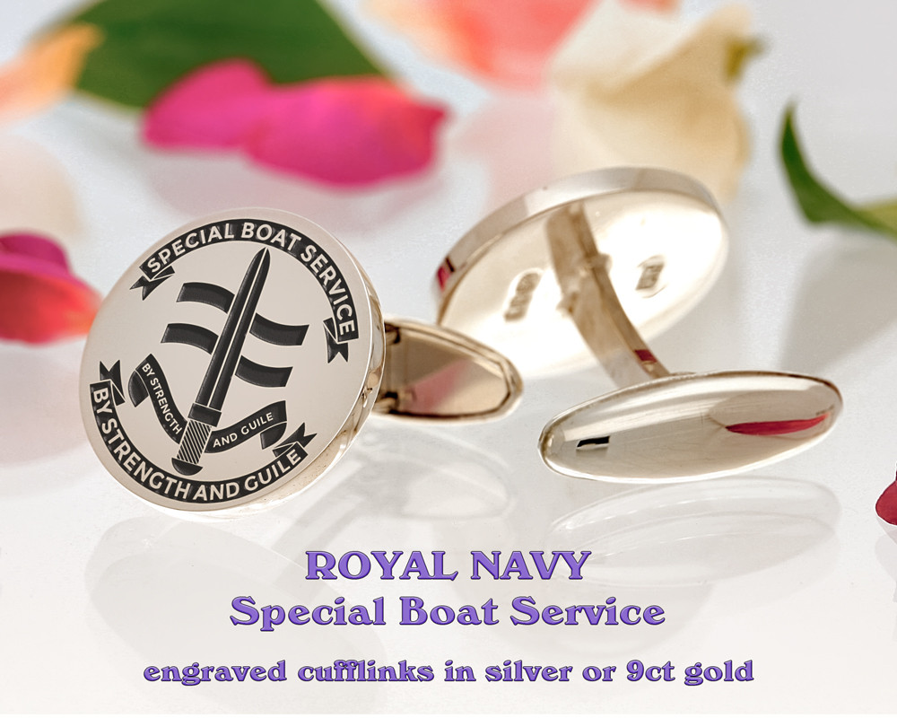 Royal Navy Special Boat Service Silver or 9ct Gold Cufflinks Positive