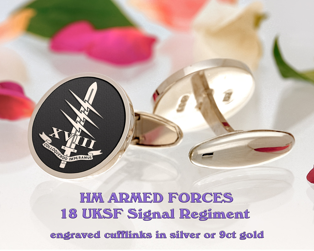 18 UKSF Signal Regiment Armed Forces Silver or 9ct Gold Cufflinks Negative