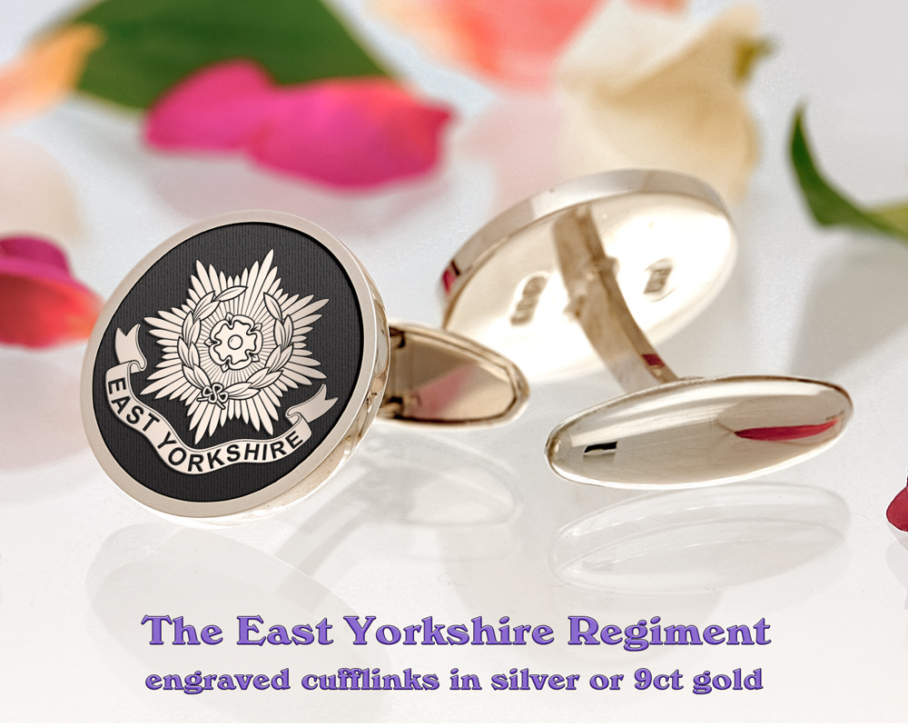 The East Yorkshire Regiment British Army Silver or 9ct Gold Cufflinks Negative
