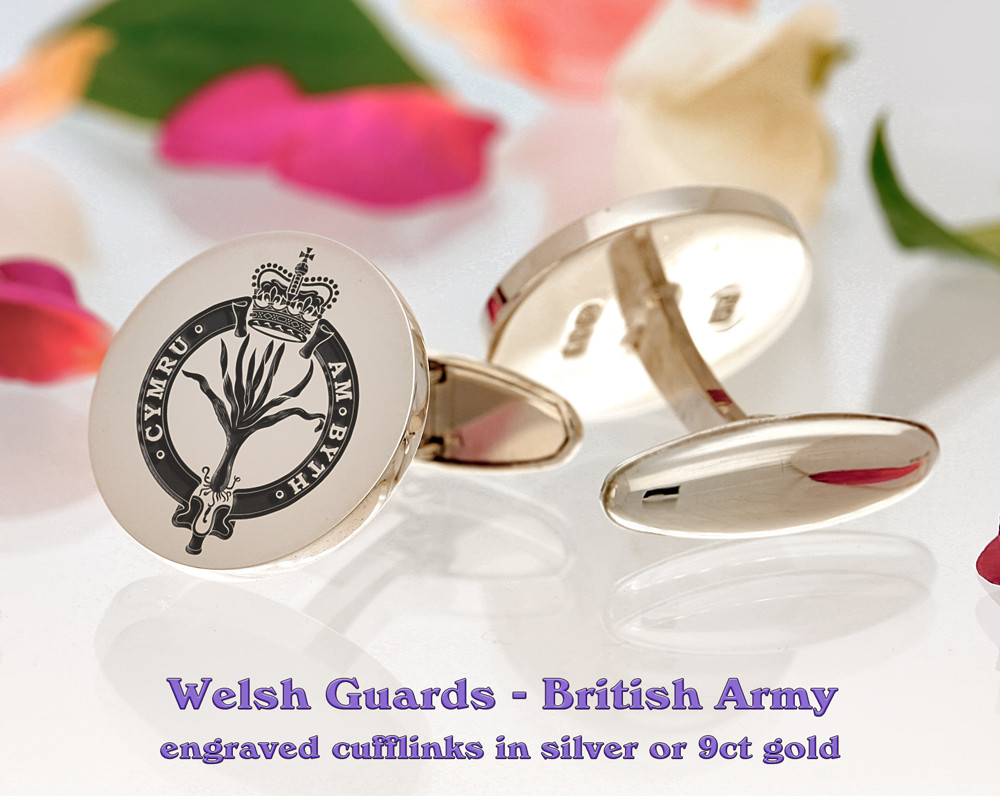 Welsh Guards British Army Silver or 9ct Gold Cufflinks Positive