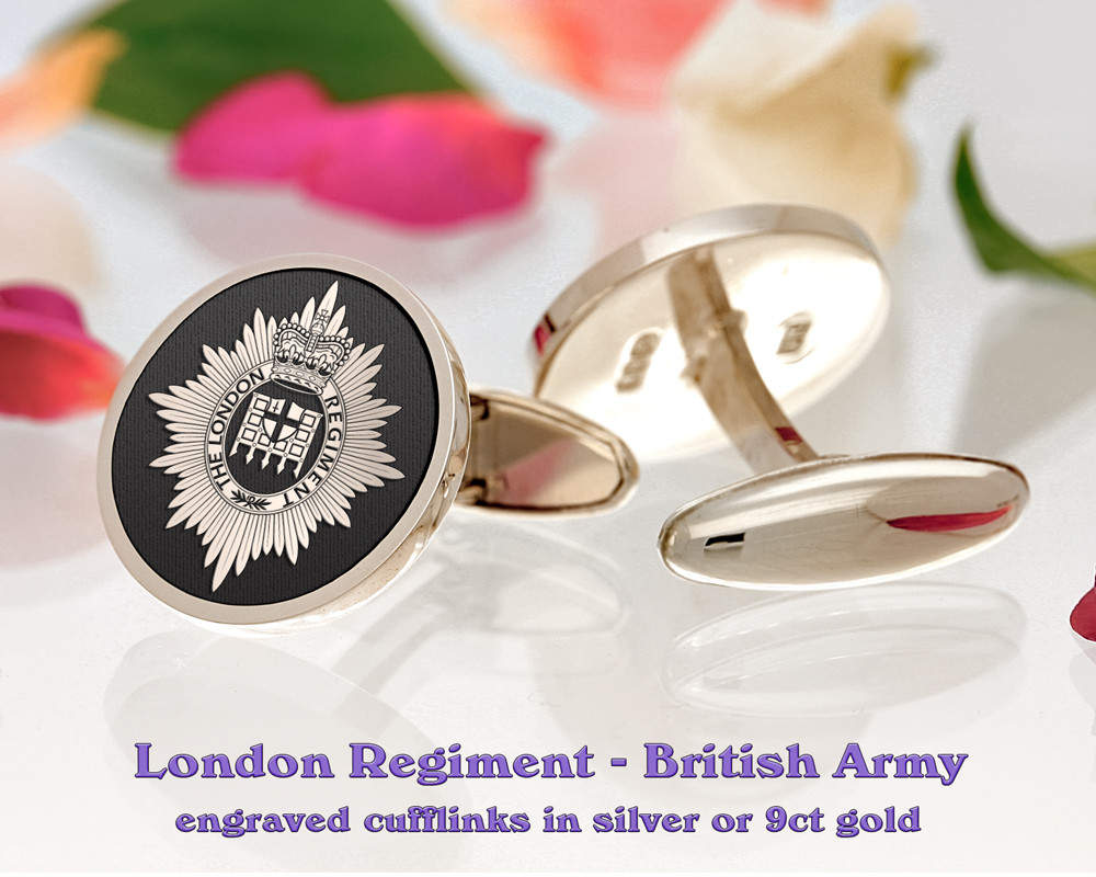The London Regiment British Army Silver or 9ct Gold Cufflinks Negative
