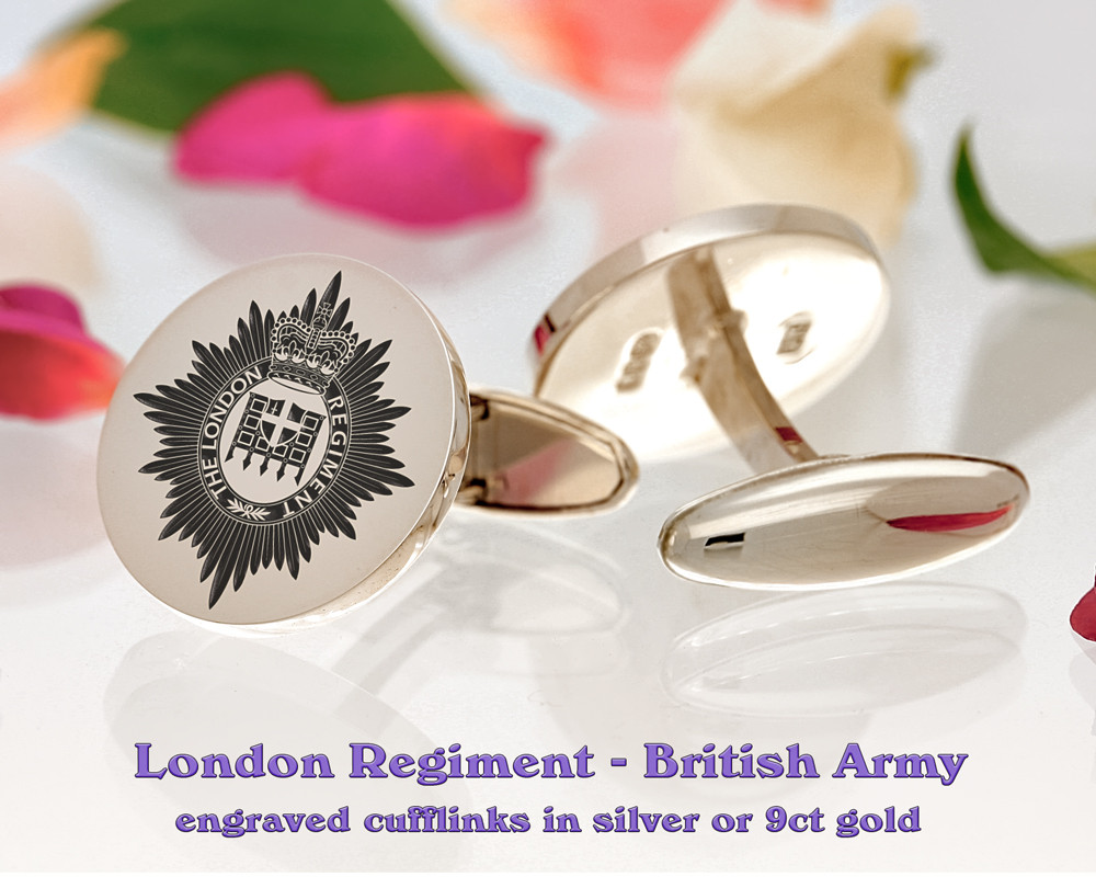 The London Regiment British Army Silver or 9ct Gold Cufflinks Positive