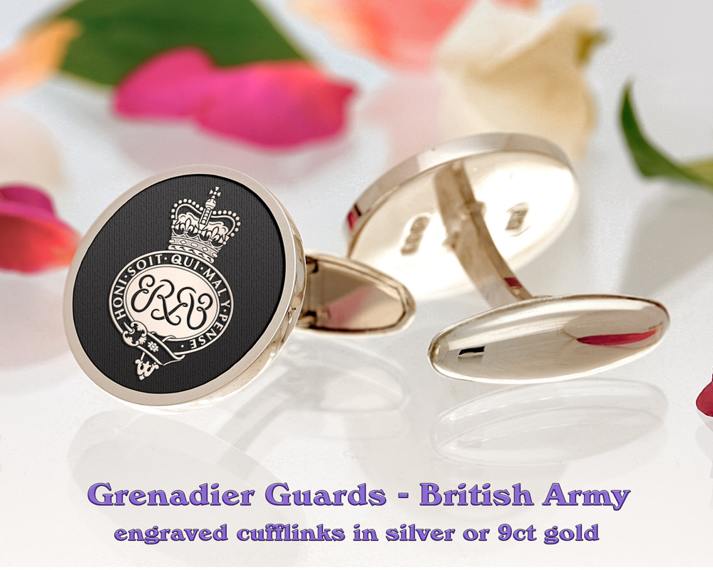 Grenadier Guards British Army Silver or 9ct Gold Cufflinks Negative