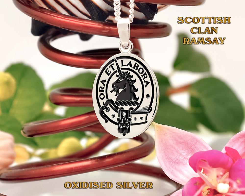 Ramsay Scottish Clan Pendant Positive Oxidised