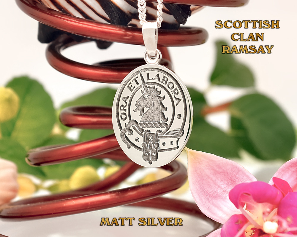 Ramsay Scottish Clan Pendant Positive Matt Silver