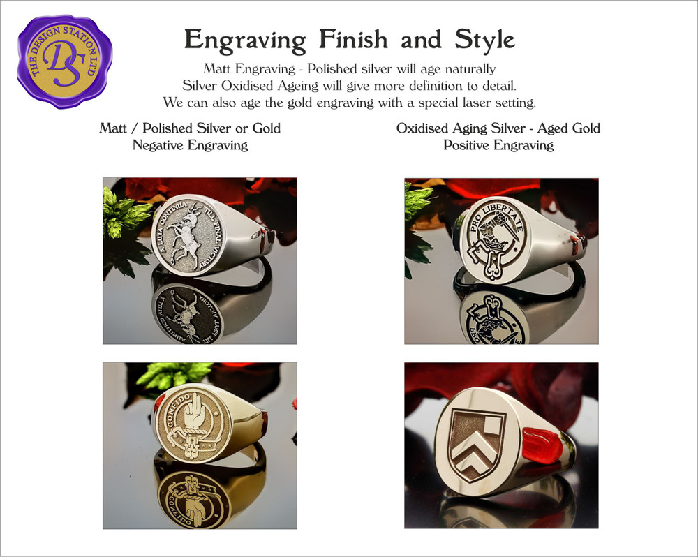 Signet Ring Engraving Finish and Style