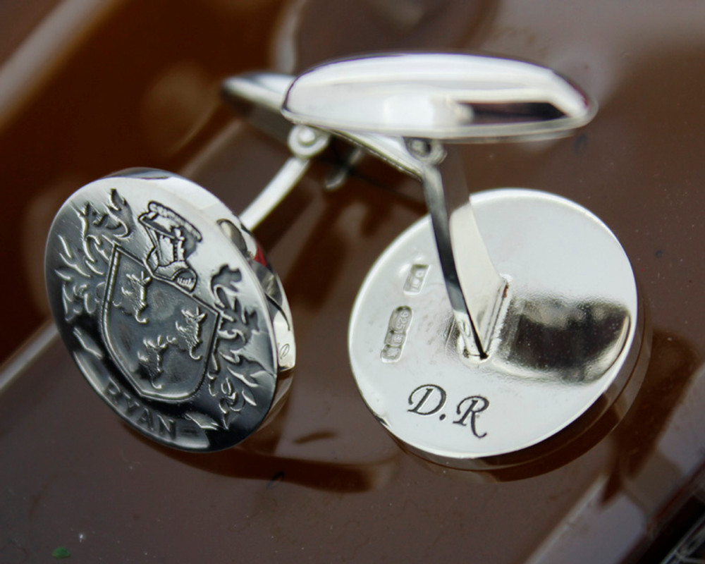 Haggerty Family Crest Cufflinks Silver or 9ct Gold