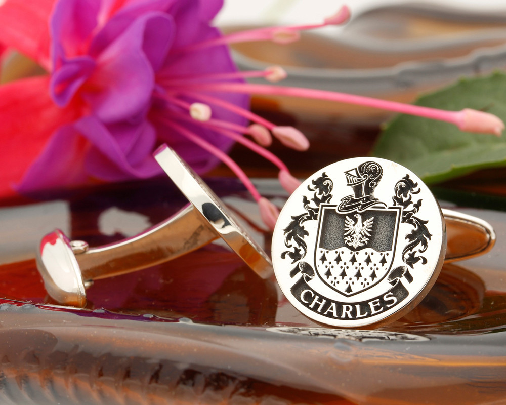 Charles (Ireland) Family Crest Cufflinks Silver or 9ct Gold Positive Engraving